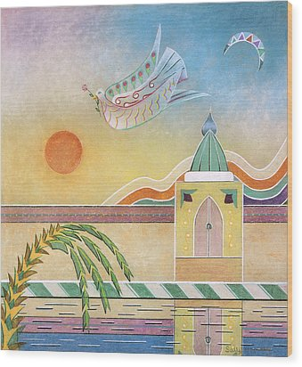 Dove Temple And Sun Wood Print by Sally Appleby