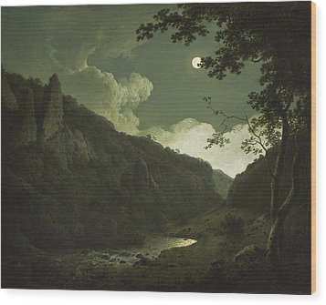 Dovedale By Moonlight Wood Print by Joseph Wright of Derby