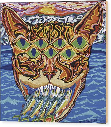Dover Cat Wood Print by Robert SORENSEN