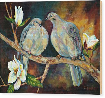 Doves And Magnolia Wood Print by Peggy Wilson