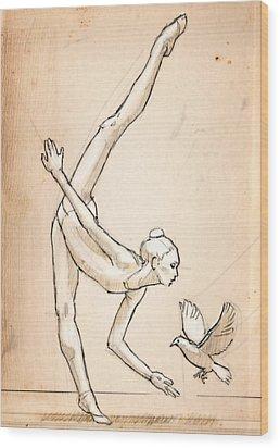 Doves Wood Print by H James Hoff