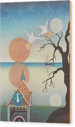 Doves With Sun Wood Print by Sally Appleby