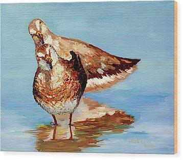 Dowitcher Birds Wood Print by Janet Garcia