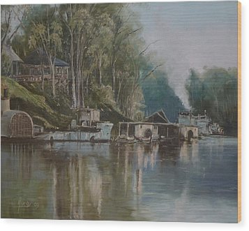 Down By The River Wood Print by Diko