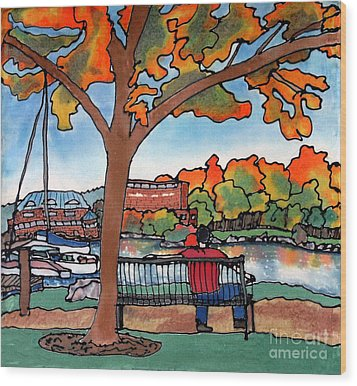 Down By The Waterfront On Silk Wood Print by Linda Marcille