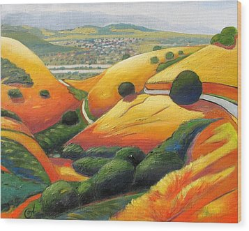 Wood Print featuring the painting Down Metcalf Road by Gary Coleman
