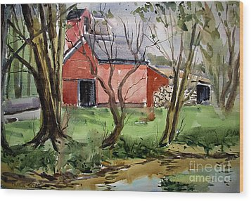 Wood Print featuring the painting Down On Pipe Creek Plein Air Matted Glassed Framed by Charlie Spear