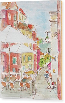 Wood Print featuring the painting Down Rua Serpa Pinto Lisbon by Pat Katz