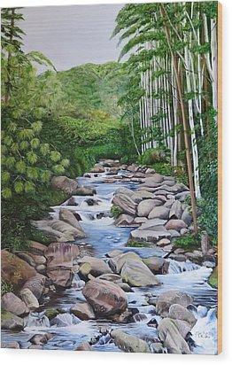 Down Stream  Wood Print by Marilyn McNish