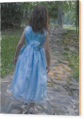 Down The Path Wood Print by Sandy Belk