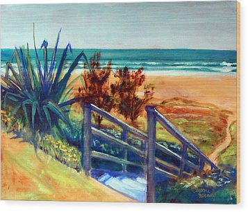 Down The Stairs To The Beach Wood Print by Winsome Gunning