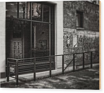 Wood Print featuring the photograph Down To The Barber Shop In Black And White by Greg Mimbs