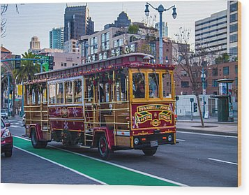 Down Town Trolly Car Wood Print by Brian Williamson
