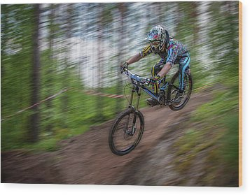 Downhill Race Wood Print