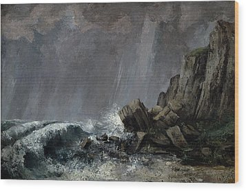 Downpour At Etretat  Wood Print by Gustave Courbet