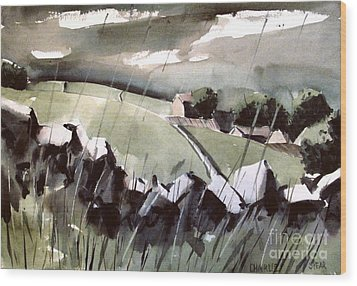 Wood Print featuring the painting Downpour In Gayle Uk by Charlie Spear