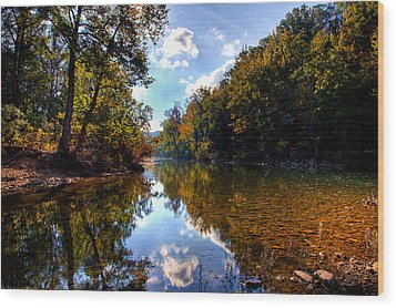 Wood Print featuring the photograph Downriver At Ozark Campground by Michael Dougherty