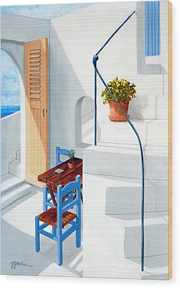 Downstairs In Santorini - Prints Of Original Oil Painting Wood Print