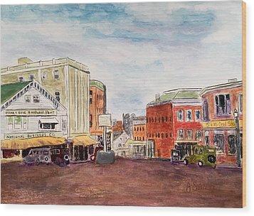 Downtown Amesbury Ma Circa 1920 Wood Print