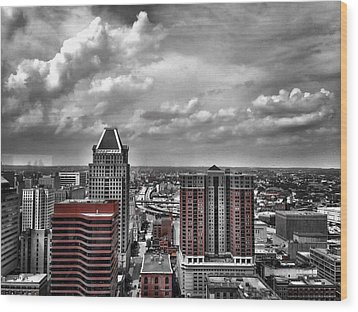 Downtown Baltimore City Wood Print
