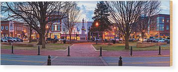 Downtown Bentonville Arkansas Town Square Panoramic  Wood Print