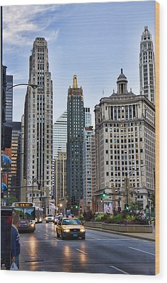 Downtown Chicago Traffic Wood Print by Paul Bartoszek