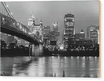 Wood Print featuring the photograph Downtown Cincinnati City Skyline - Black And White by Gregory Ballos