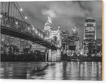 Wood Print featuring the photograph Downtown City Skyline Of Cincinnati Ohio Black And White by Gregory Ballos