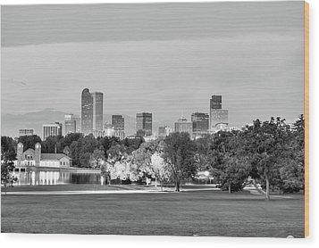 Downtown Denver Skyline - Black And White Wood Print