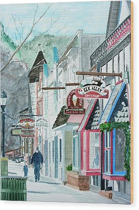 Wood Print featuring the painting Downtown Estes Park Winter by Tom Riggs
