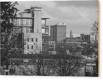 Downtown Fayetteville Arkansas Skyline - Dickson Street - Black And White Edition. Wood Print by Gregory Ballos