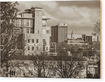 Downtown Fayetteville Arkansas Skyline - Dickson Street - Sepia Edition. Wood Print by Gregory Ballos
