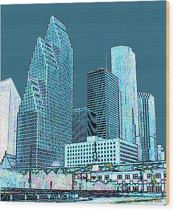 Downtown Houston Wood Print by Fred Jinkins