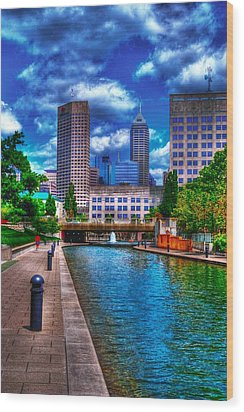 Downtown Indianapolis Canal Wood Print by David Haskett