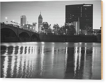 Wood Print featuring the photograph Downtown Indianapolis City Skyline - Black And White by Gregory Ballos