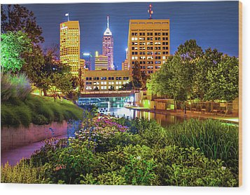 Downtown Indianapolis Skyline At Night Wood Print by Gregory Ballos