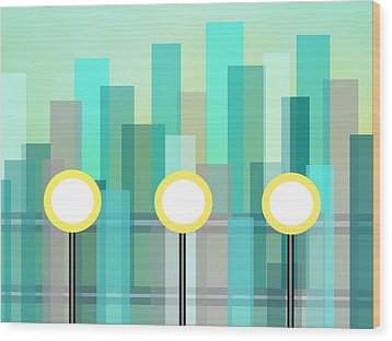 Downtown Wood Print by Kathleen Sartoris