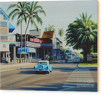 Downtown Lahaina Maui Wood Print by Frank Dalton