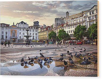 Downtown Lisbon Wood Print