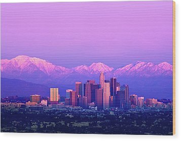 Downtown Los Angeles In Winter Wood Print by Andrew Kennelly