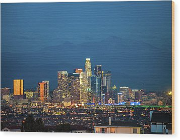 Wood Print featuring the photograph Downtown Los Angeles Skyline At Night by Gregory Ballos