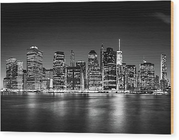 Wood Print featuring the photograph Downtown Manhattan Bw by Az Jackson