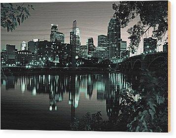 Downtown Minneapolis At Night II Wood Print