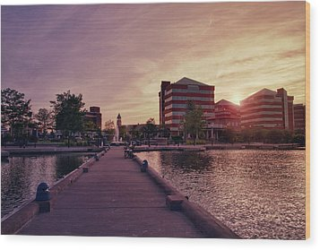 Wood Print featuring the photograph Downtown Neenah Sunset by Joel Witmeyer