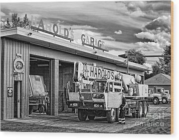 Downtown Northampton - Harold's Garage Wood Print by HD Connelly