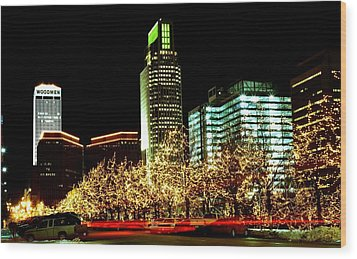 Downtown Omaha Skyline Wood Print by Jetson Nguyen
