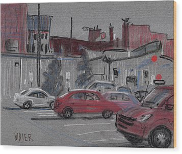 Downtown Parking Wood Print by Donald Maier