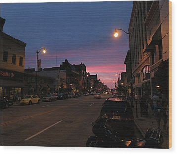 Wood Print featuring the photograph Downtown Racine At Dusk by Mark Czerniec