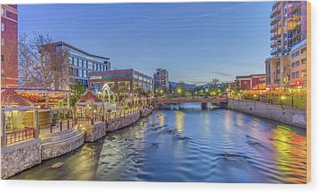 Wood Print featuring the photograph Downtown Reno Along The Truckee River by Scott McGuire