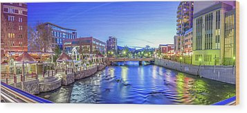 Downtown Reno Summer Twilight Wood Print